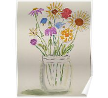 Mason Jar of Flowers Poster