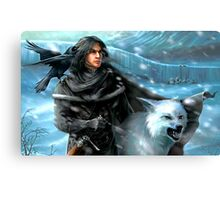 Jon Snow and His Wolf Canvas Print