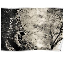 Buddha statue black and white Poster