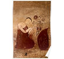 Wall painting of a buddhist monk  Poster