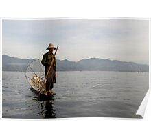 Fisherman on lake Inle (Burma/ Myanmar)  Poster