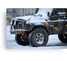 SUV in snow Canvas Print