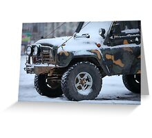 SUV in snow Greeting Card