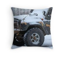 SUV in snow Throw Pillow
