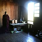 Monk in a monastery near lake Inle  by Peter Voerman