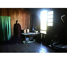 Monk in a monastery near lake Inle  Photographic Print