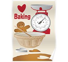 Love Baking Retro Style Poster Poster