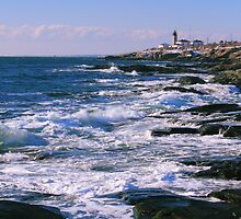 Winter Seascape at Beavertail Point Lighthouse by Roupen  Baker