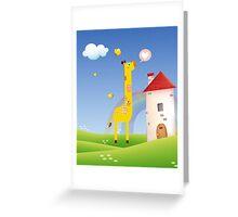 Cute Love Giraffe Butterfly Rainbow Castle & Cloud Greeting Card