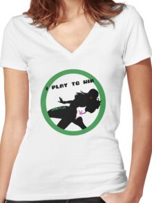 I Play to Win Women's Fitted V-Neck T-Shirt