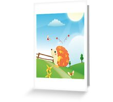 Cute Love Hedgehog with Butterfly Sunny Day Greeting Card