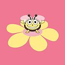 Happy Cartoon Bee on Flower by Boriana Giormova
