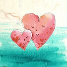 Cute Fine Art Love Hearts with Watercolor Pattern by scottorz