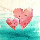 Cute Fine Art Love Hearts with Watercolor Pattern by scottorz