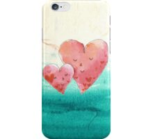 Cute Fine Art Love Hearts with Watercolor Pattern iPhone Case/Skin