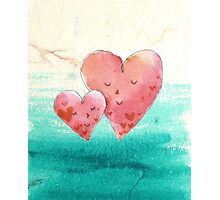 Cute Fine Art Love Hearts with Watercolor Pattern Photographic Print
