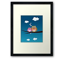 Lovely Cute Owl Couple Full of Love Heart Framed Print