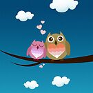 Lovely Cute Owl Couple Full of Love Heart by scottorz