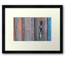 Old barn wall and lock Framed Print