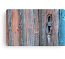 Old barn wall and lock Canvas Print