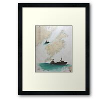Raven Kodiak AK Trawl Fish Boat Cathy Peek Nautical Chart Art Framed Print