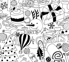 Seamless Pattern Christmas White by bewii165
