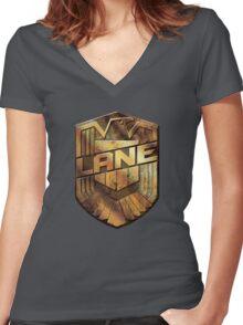 Custom Dredd Badge - (Lane) Women's Fitted V-Neck T-Shirt