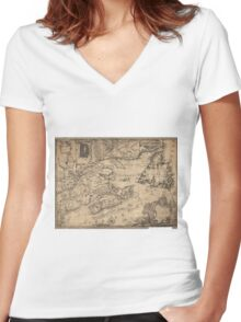 Province of Nova Scotia Canada Map (1776) Women's Fitted V-Neck T-Shirt