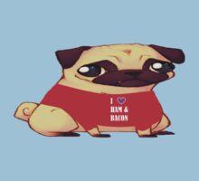 Pugs Love Ham & Bacon  One Piece - Short Sleeve