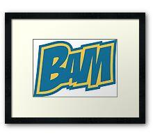 BAM Comic Sound Effect T-Shirt - Blue Framed Print