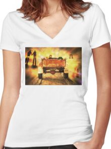 I'm Spending Christmas In Heaven - Image and Poem Women's Fitted V-Neck T-Shirt