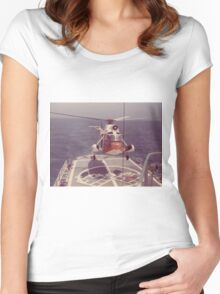 Old Coast Guard Search and Rescue Orange Helicopter T-shirt Women's Fitted Scoop T-Shirt