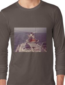 Old Coast Guard Search and Rescue Orange Helicopter T-shirt Long Sleeve T-Shirt