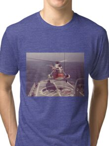 Old Coast Guard Search and Rescue Orange Helicopter T-shirt Tri-blend T-Shirt
