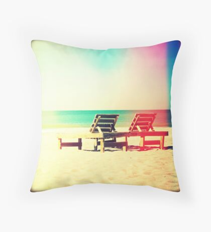 Beach Chairs Throw Pillow