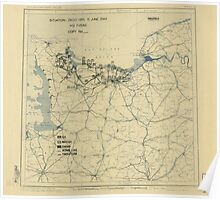 June 11 1944 World War II HQ Twelfth Army Group situation map Poster