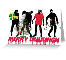 Funny Zombies decorating Christmas tree Greeting Card
