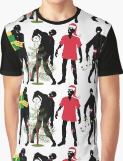 Funny Zombies decorating Christmas tree Graphic T-Shirt
