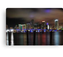 Miami Skyline and Port Boulevard Bridge - High Resolution Canvas Print