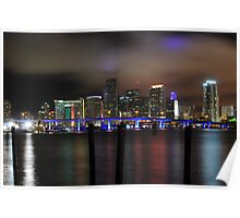 Miami Skyline and Port Boulevard Bridge - High Resolution Poster