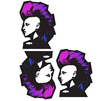 Punk in Violets and Blues Photographic Print