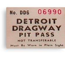 Vintage Detroit Dragway Pit Pas ca. 1965 Canvas Print