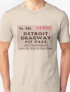 Vintage Detroit Dragway Pit Pas ca. 1965 Unisex T-Shirt