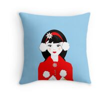 Pretty Christmas Carol Singer Throw Pillow