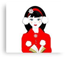 Pretty Christmas Carol Singer Canvas Print