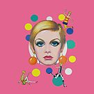 Twiggy Mod Retro Bubbles Art by dollyforsue