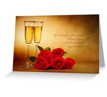 Champagne glasses and roses  Greeting Card