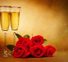 Champagne glasses and roses by 3523studio