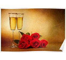 Champagne glasses and roses Poster