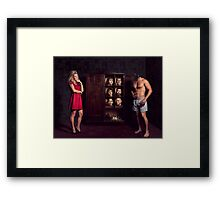 Ultimate Dating - Heads in Cupboard Framed Print